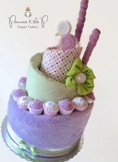 Sweet Treats Diaper Cake, Topsy Turvy Diaper Cake, Baby Shower, Centerpiece, Decoration, washcloth lollipop, cupcake