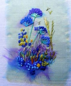 Wonderful Ribbon Embroidery Flowers by Hand Ideas. Enchanting Ribbon Embroidery Flowers by Hand Ideas. Silk Ribbon Embroidery, Embroidery Applique, Cross Stitch Embroidery, Embroidery Patterns, Flower Embroidery, Abstract Embroidery, Embroidered Flowers, Creative Textiles, Creative Embroidery