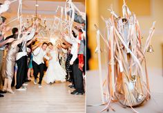 Homemade Ribbon and Bell Wands - Silk ribbons and wedding bells tied on the end of dowel rods make for a twinkly exit tunnel.