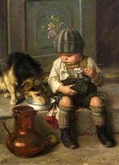 """The Soup Thief "" . by Paul Hermann Wagner 1852 – German Paintings I Love, Beautiful Paintings, Oil Paintings, Vintage Dog, Vintage Children, Ludwig Meidner, Art Et Nature, Fine Art, Dog Art"