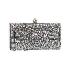 Women's J. Furmani 60239 Hardcase Stone Design Clutch ($70) ❤ liked on Polyvore featuring bags, handbags, clutches, purses, silver, party purses, hand bags, stone handbags, man bag and party clutches