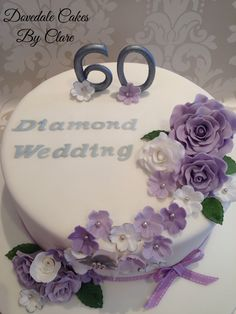Lilac cascading flower diamond anniversary cake.                                                                                                                                                                                 More Diamond Wedding Anniversary Cake, 60th Anniversary Cakes, Diamond Wedding Cakes, Anniversary Ideas, 60th Birthday Cake For Ladies, 60th Birthday Cakes, Cake Decorating Kits, Birthday Cake With Flowers, Occasion Cakes