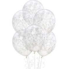 Clear & White filigree Latex Balloons 6ct