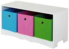 Shop for Home Basics Kids Storage Bench with 3 Bins, White. Get free delivery On EVERYTHING* Overstock - Your Online Furniture Outlet Store! Kids Storage Bench, 3 Drawer Storage, Storage Shelves, Storage Spaces, Locker Storage, Bin Storage, Storage Ideas, Hallway Storage, Book Shelves