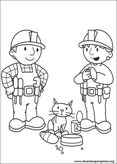Bob The Builder See Cats Eating Coloring Pages For Kids Printable