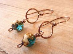Copper Earrings Czech Glass Beads
