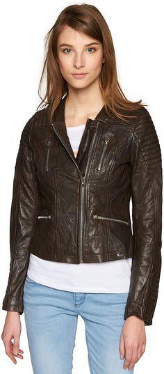 kurze Biker-Jacke aus Leder für Frauen (unifarben, langärmlig mit Biker-Kragen und Zipper vorne) aus 100 % Schafsleder, mit leichtem Glanz-Finish, Schulterpartie und Ärmel mit Ziernähten, Einschubtaschen mit Zippern. Material: 100 % Leder...