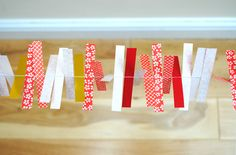 sewn paper garland.