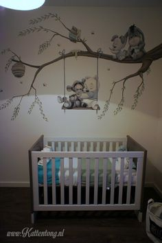 Mural painting: Baby Pooh and friends. Manufactured by Kattentong decorations. Muurschildering: Baby Pooh and friends. Baby Room Boy, Baby Girl Room Decor, Baby Room Themes, Baby Room Colors, Baby Room Design, Baby Bedroom, Nursery Design, Nursery Room, Girl Nursery