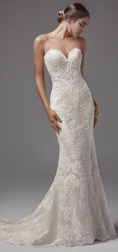 Sottero and Midgley - ELLINGTON, This intriguing fit-and-flare wedding dress features crosshatch netting and luxurious lace appliqués.