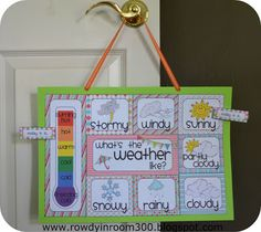 Weather chart PRINTABLE freebie. Great for use during calendar time- can be used like this or in a pocket chart