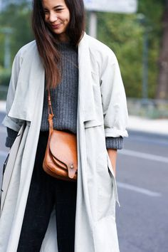 grey trench & leather crossbody bag #style #fashion