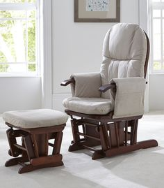 Tutti Bambini Deluxe Reclinable Glider Chair and Stool - Walnut