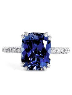Selena - Unique 4 Carat Cornflower Blue Cushion Cut Sapphire Engagement Ring in White Gold – Dana Walden Bridal :: Engagement Ring Designers - NYC