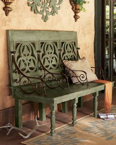 "Distressed Three-Seat Bench - Nieman Marcus Unique three-seat wooden bench is painted blue, then treated with an antique wash to create a distressed finish with a mossy green hue. With iron armrests. 63.25""W x 26""D x 48.75""T. Outdoor safe in a covered area."