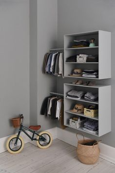 Stephanie Bach The Banwood Balance bike and clothes in one corner of Walter and Holgers room. Also there sweaters from Danish brand Holmm and night wear from also Danish On Cloud Nine. The post Stephanie Bach appeared first on Kleiderschrank ideen. Baby Room Boy, Baby Bedroom, Kids Bedroom, Room Kids, Sweet Home, Sweet 15, Kids Room Design, Little Girl Rooms, Kidsroom