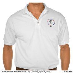 One America, Unity, Politics, Anti-Racism /Prejudice Men's Gildan Jersey Polo Shirt, white