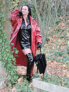 DSCN7186 High Leather Boots, Leather Jacket, Red Raincoat, Rain Jacket, Bomber Jacket, Rubber Doll, Latex Girls, Outdoor Woman, Rain Wear