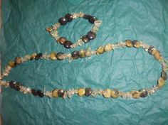 Yellow Turquoise Lentil gemstones Necklace and by Jazznitup, $35.00