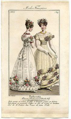 1823. ballgowns, France
