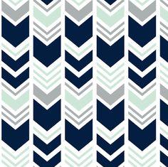 Northern Lights Chevron // Navy/Mint/Grey fabric by littlearrowdesign on Spoonflower - custom fabric Grey And Navy Nursery, Peach Nursery, Chevron Fabric, Grey Fabric, Grey Chevron, Native American Nursery, Halo Bassinet, Peace Art, Custom Wallpaper