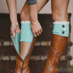Khaki Lace Button Boot Cuffs