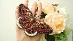 """Купить Брошь-бабочка """"На крыльях осени"""" - комбинированный, крупная брошь, красивая брошь"""