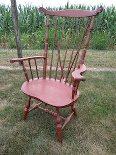 Windsor Chair in a Barn Red Finish. I like the Back Brace.