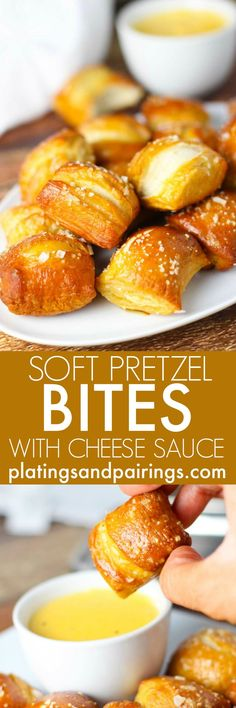 These Soft Pretzel Bites with Cheese Sauce are the perfect snack for tailgating. Soft, chewy and bite size with a golden crust, they're perfect for dunking into a rich cheese sauce which can be customized in one of three ways. | platingsandpairings.com