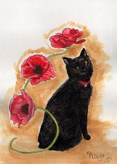 A watercolor portrait of my oldest living pet, the black Manx, Ringo.