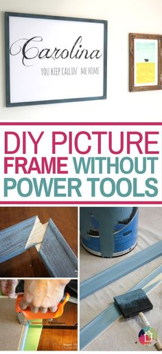Make a DIY picture frame any size you need without any power tools! No sawing or cutting required! Best DIY hack ever! Home Crafts, Diy Home Decor, Diy Crafts, Wooden Crafts, Custom Woodworking, Woodworking Projects Plans, Woodworking Techniques, Diy Cutting Board, Hacks Diy