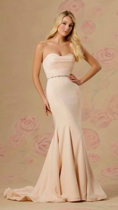 d43df681b1 Crepe fitted crumbcatcher style shown in Soft Peach-  . Bridal Chateau · Bridal  Gowns