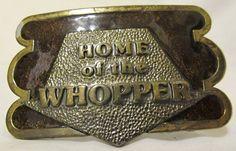 Classy 1970's 'Home of the Whopper' Enameled Belt Buckle. $16.00, via Etsy.