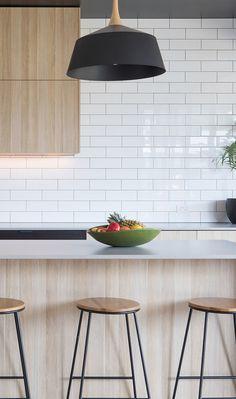 54 Ideas Kitchen Island Bench Modern Subway Tiles For 2019 Timber Kitchen, Concrete Kitchen, Kitchen Tiles, Kitchen White, Caesarstone Raw Concrete, Modern Kitchen Design, Interior Design Kitchen, Kitchen Designs, Kitchen Island Bench