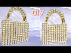 How to make a beaded pearl bag//pearl beaded handbag//bead purse //diy h... Beaded Purses, Beaded Bags, Handbag Tutorial, Make Your Own, Make It Yourself, Diy Purse, Hand Bags, Pearl Beads, Straw Bag