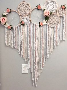 This Floral dream catcher collage/mural is just one of the custom, handmade pieces you'll find in our home & living shops. Doily Dream Catchers, Dream Catcher Craft, Embroidery Hoop Crafts, Ribbon Embroidery, Wedding Embroidery, Embroidery Ideas, Palette Deco, Diy And Crafts, Arts And Crafts
