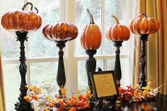 pumpkins on candlesticks plus tip on how to make fake pumpkins look more real Thanksgiving Decorations, Seasonal Decor, Halloween Decorations, Fall Decorations, Spooky Decor, Thanksgiving Ideas, Alice Halloween, Holidays Halloween, Halloween Ideas