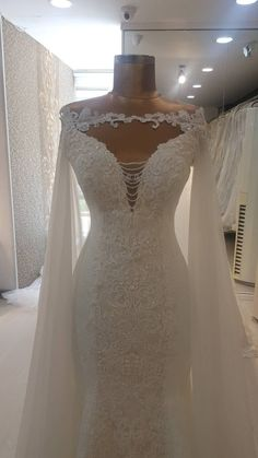 Berta Bridal Inspired Mermaid Wedding dress with detachable Cloak. Mermaid Bridal Gown Berta Bridal Inspired Mermaid Wedding dress with detachable image 3 Wedding Dress Empire, Gold Wedding Gowns, Fairy Wedding Dress, Western Wedding Dresses, Modest Wedding Dresses, Bridal Dresses, Lace Trumpet Wedding Dress, Wedding Dress Cape, Wedding Dresses With Bling
