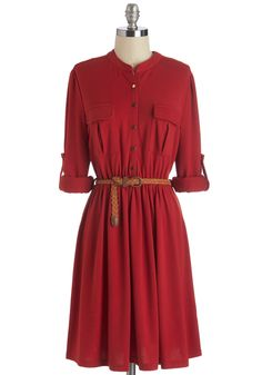 Predict the Possibilities Dress. Its plain to foresee the plethora of outfit options that lie in this tomato-red shirt dress. #red #modcloth