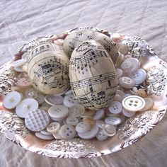 Antique Music Decoupage Easter Eggs-upcycled Plastic Eggs-Neutral Tone-piano sheet music.. The Prairie Cottage
