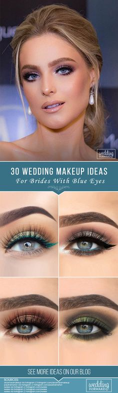 30 Makeup Ideas For Blue Eyes ❤ We have collected stunning makeup ideas for blue eyes. These makeup looks will make your blue eyes shine and sparkle, no matter what shade they are. See more: http://www.weddingforward.com/makeup-ideas-for-blue-eyes/ #wedding #bride #makeupideasforblueeyes
