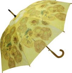 van gogh sunflower umbrella curved wooden handle