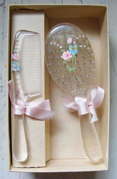 Circa 1930s Never Used Mint In Box Baby Comb and Brush Adorned With Pink Ribbons and Hand Painted Flowers