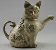 Tibet Silver Carved Lovely Cat Tea Pot