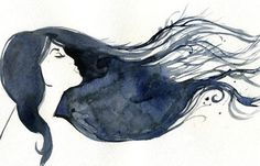 "I love ""hair"" paintings like this.  Watercolor. Art inspiration.  Curls. Blue hair. Beautiful."