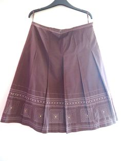 LADIES MARKS AND SPENCER BROWN COCOA SKIRT COTTON SIZE 12 DETAIL PLEATS