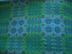 """GO,   ... BUY THIS NOW!  We want people to buy up all the old Welsh woollen blankets that pop up in retail shops, Ebay, Etsy, or country auctions.    Let's re-love them, please! [Vintage Welsh Wool tapestry Blanket green/blue 90""""x72"""" reversible c1970s 