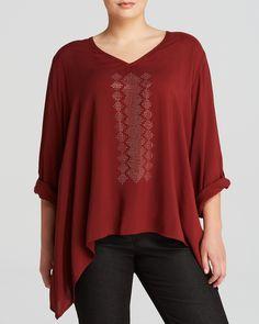 Karen Kane Plus Size Fashion Rust Colored Roll Sleeve Embellished Top | Bloomingdale's #Karen_Kane #Rust #Fall #Colors #Plus #Size #Fashion #Plus_Size_Fashion #Bloomingdales
