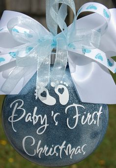 Baby's First Christmas Glitter Ornament READY by lyricalletters, $18.00