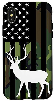iPhone X/XS Deer Hunt USA Flag Hunter Star Pattern Cell Phone Cover Gift Case Cell Phone Covers, Deer Hunting, Gift Store, Star Patterns, Usa Flag, Moose Art, Iphone, Stars, Gifts